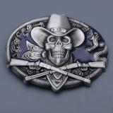 Přezka na opasek - Lebka s kloboukem